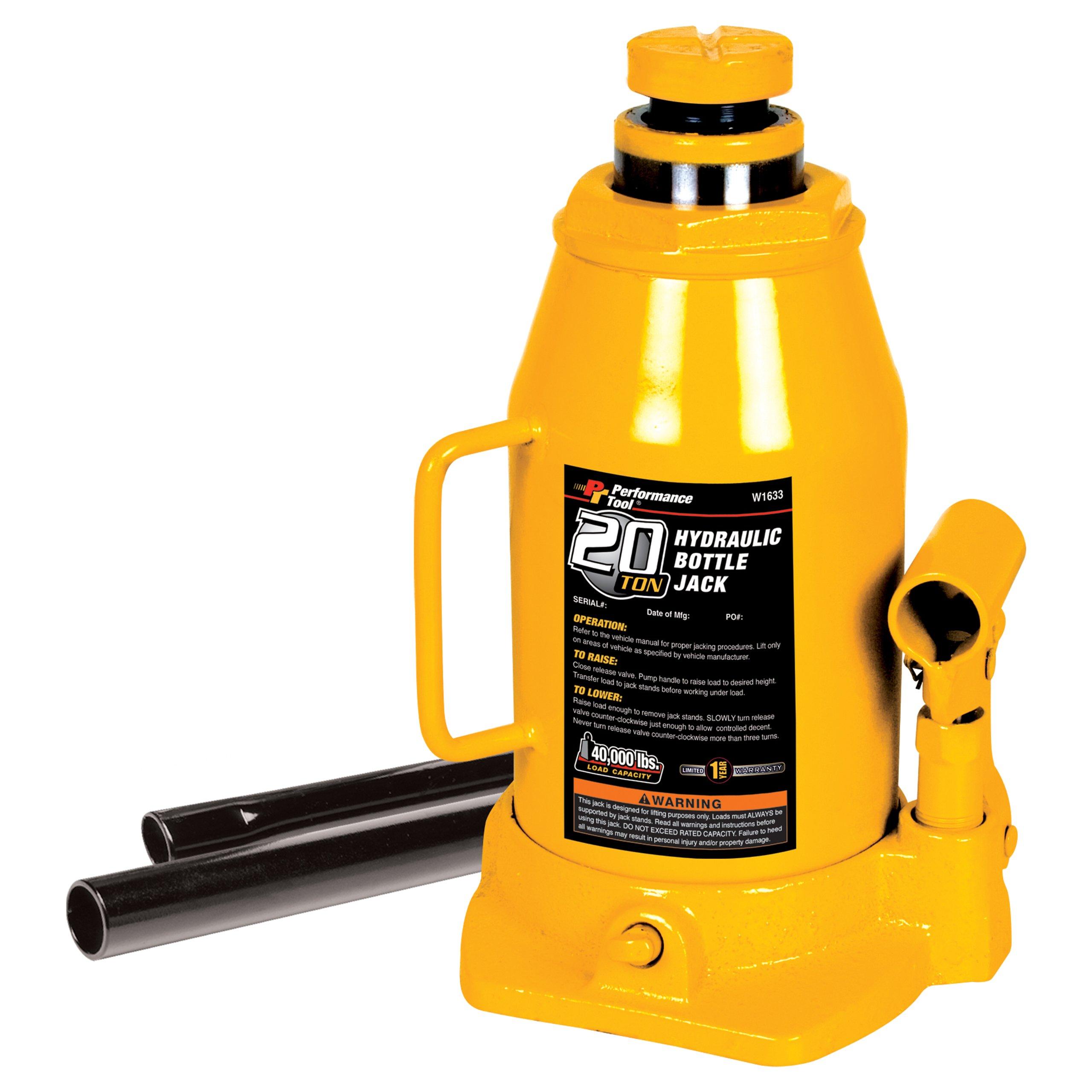Performance Tool W1633 20 Ton (40,000 lbs.) Heavy Duty Hydraulic Bottle Jack
