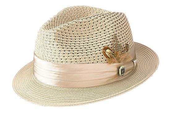 48786184af23e MONTIQUE Men s Braided Pinch Fedora Hat H24 at Amazon Men s Clothing ...