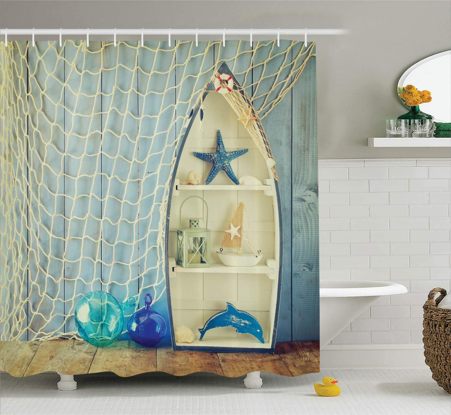 DIY Blue Shower Curtain Nautical Decor, Boat Standing Against The Wall with Other Aquatic Objects Bathroom Curtains Blue Sea Maritime Theme Picture, 72 x 84 Inches Blue Beige