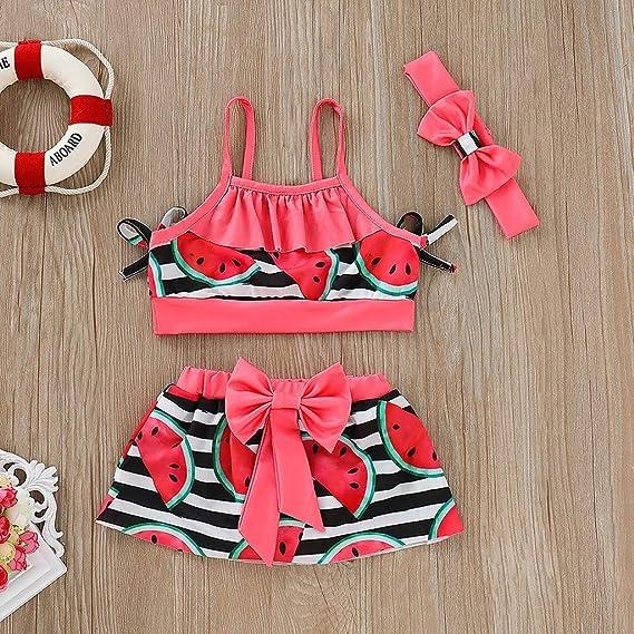 Moonker Girl Swimwear,Kids Baby Girl One Piece Ruffles Bikini Rach Guard Beachwear for 1-6T