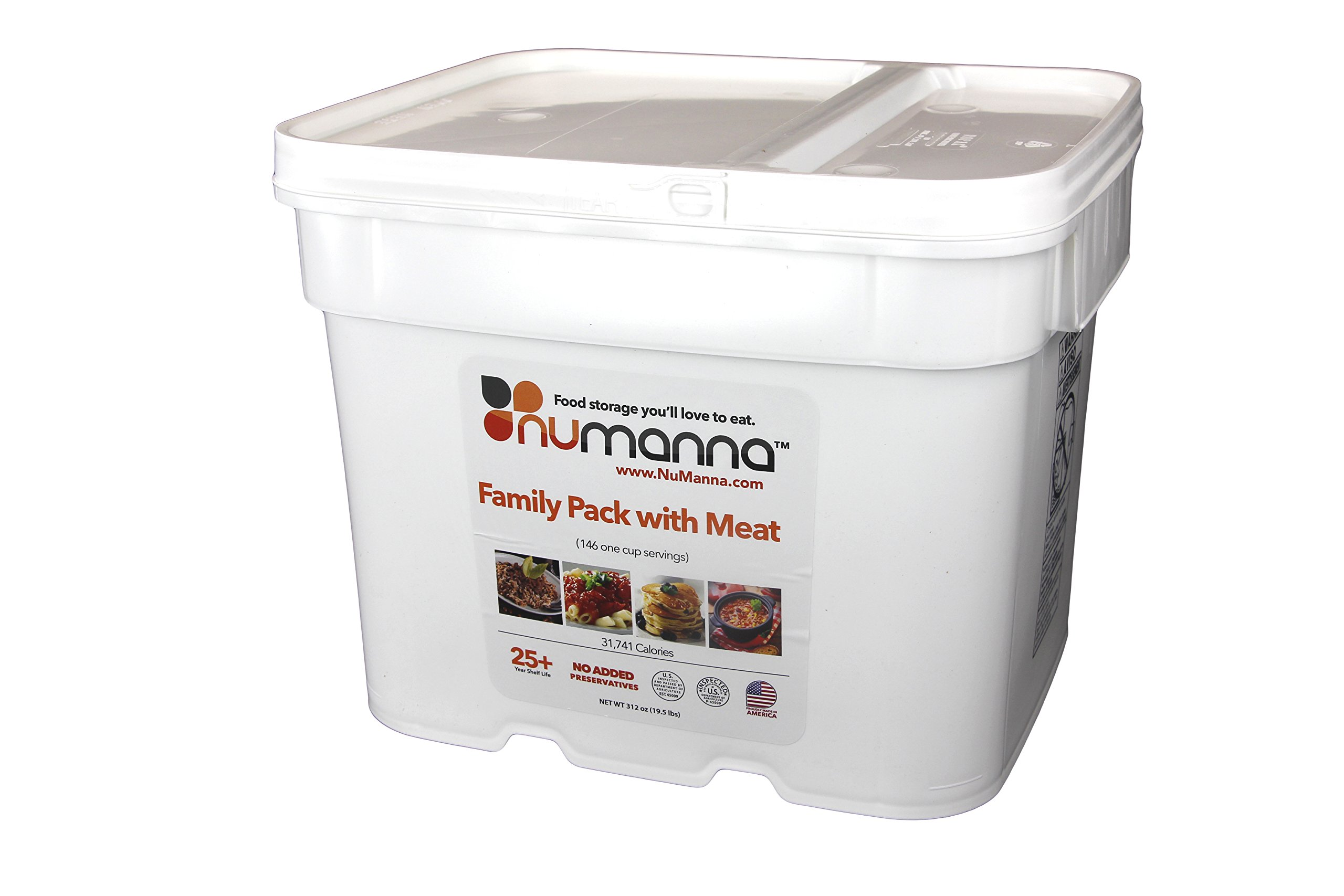 NuManna Family Pack w/ Meat 146 Servings, Emergency Survival Food Storage Kit, Separate Rations, in a Bucket, 25 Plus Year Shelf Life, GMO-Free by NuManna