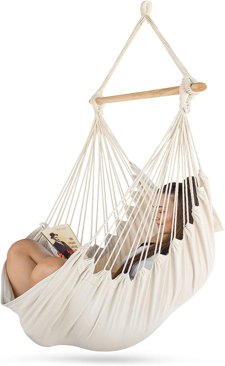 Sorbus Hammock Chair for Bedroom Indoor or Outdoor - Extra Long Swing Seat - Quality Cotton for Superior Comfort & Durability - Swinging Chairs for Yard, Porch Spaces (Beige)
