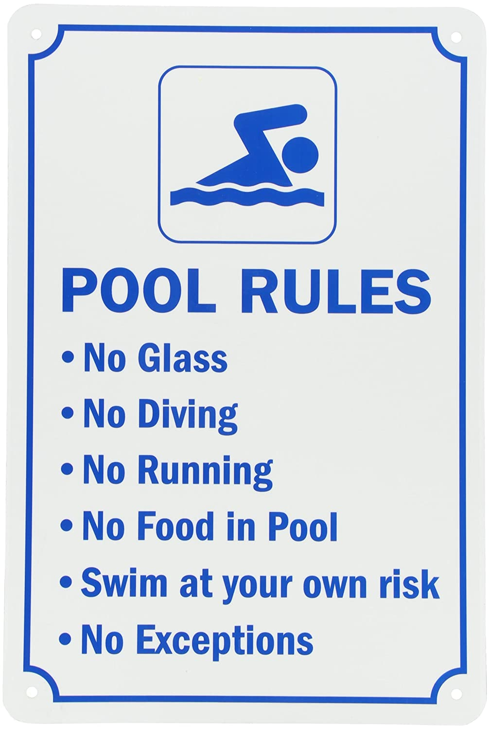 "SmartSign Aluminum Sign, Legend ""Swimming Pool Rules"", 18"" high x 12"" wide, Blue on White Lyle Signs S-7123-AL-12x18"