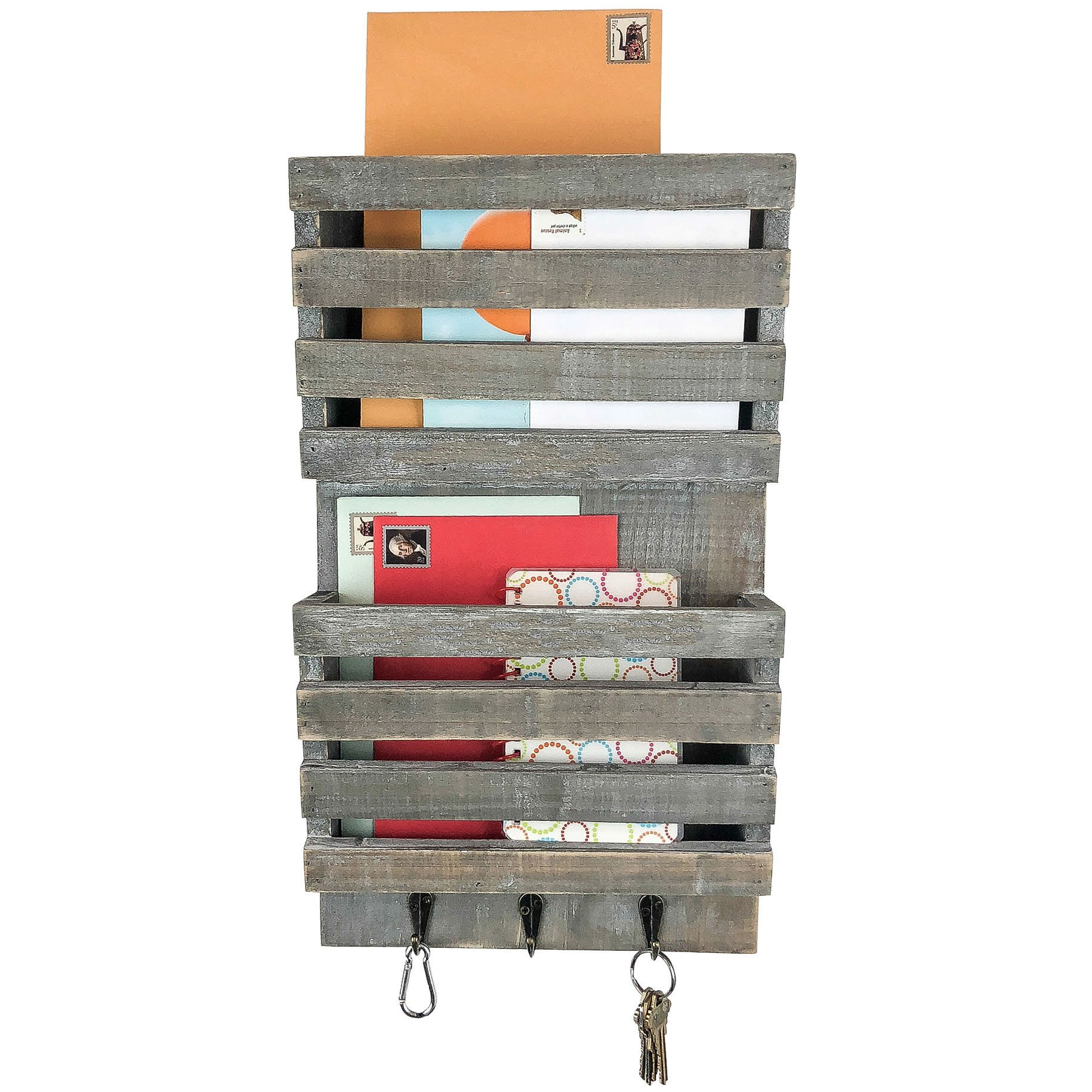 Rusoji Distressed Barnwood Style Wall Mounted Hanging Display Wood Mail Sorter Shelves with Key Hooks, Gray