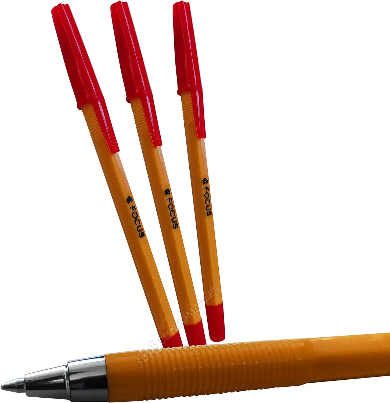 Pack de 20 bolígrafos de punta fina roja Focus. Bolígrafos Biro Precisión Baratos Tinta Roja FP: Amazon.es: Oficina y papelería