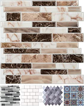 Peel And Stick Tile Backsplash For Kitchen Marble Design 10 Sheets Amazon Com