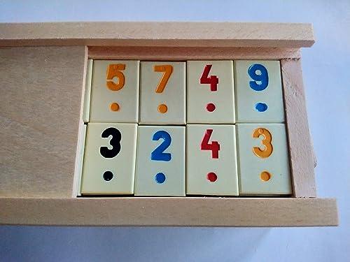 Nuevo gran rummy, rummikub juego con pieza beige, niños, viajes, estrategia, juego de la familia, juego de mesa en madera hecha a mano caja de madera: Amazon.es: Handmade