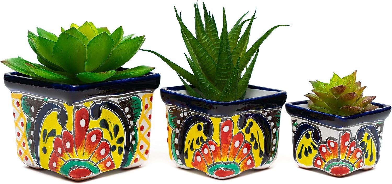 Enchanted Talavera Ceramic 3 Piece Succulent Pot Set Mini Flower Planter Cactus Bonsai Pot Home Garden Office Desk Décor Gift Set (Multi Color)