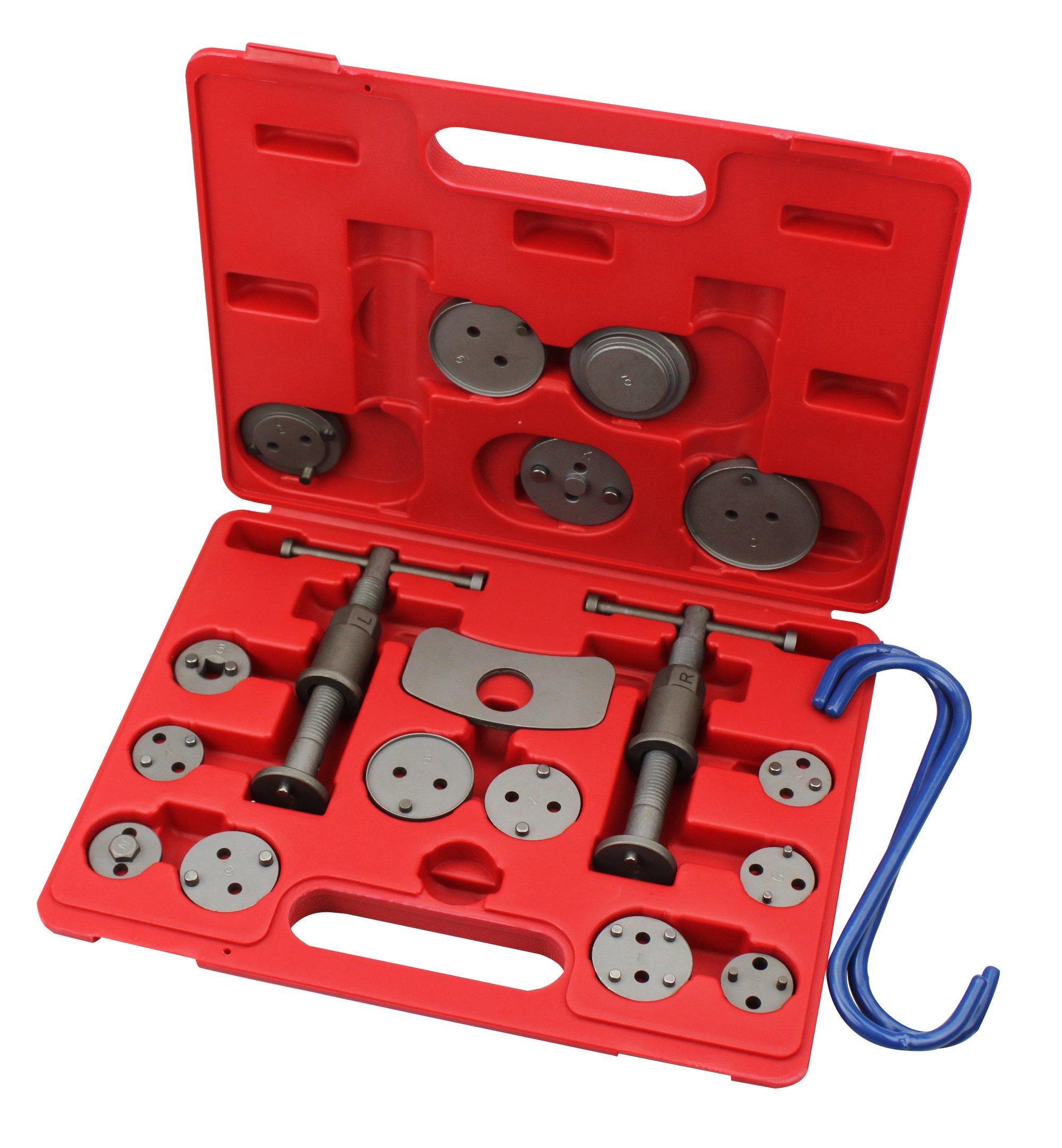 Kauplus Break Caliper wind Back Tool Set Wind Back Tool Kit Disc Brake Caliper Piston Pad Car W/Caliper Hangers