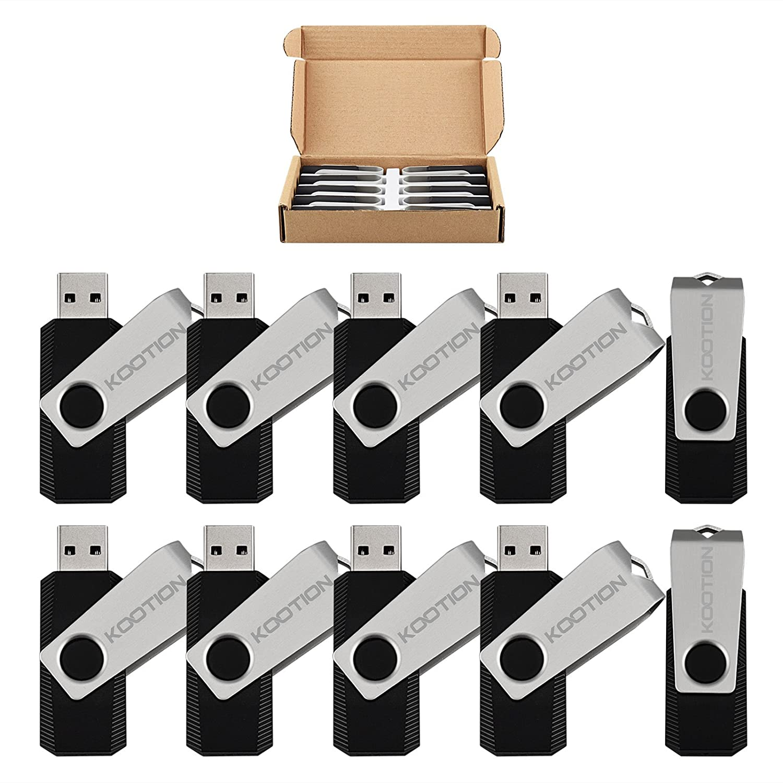 KOOTION 10pcs 8GB Flash Drive Swivel Design Fashion USB 2.0 U Stick Bulk Memory Stick 10 Pack in Black