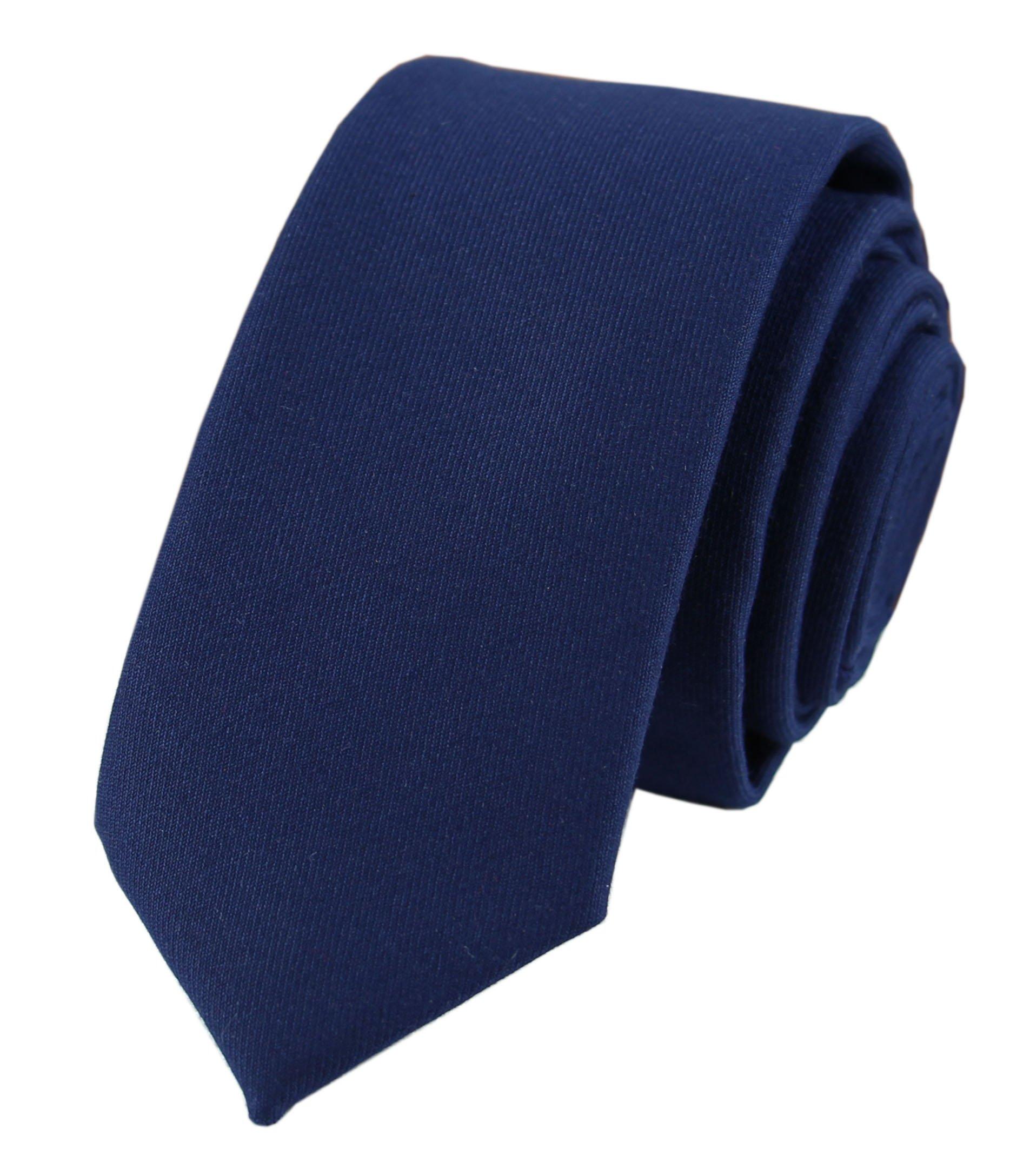 Navy Blue Cotton Tie for Men Big Boy Youth Super Narrow Necktie Skinny Width Cut