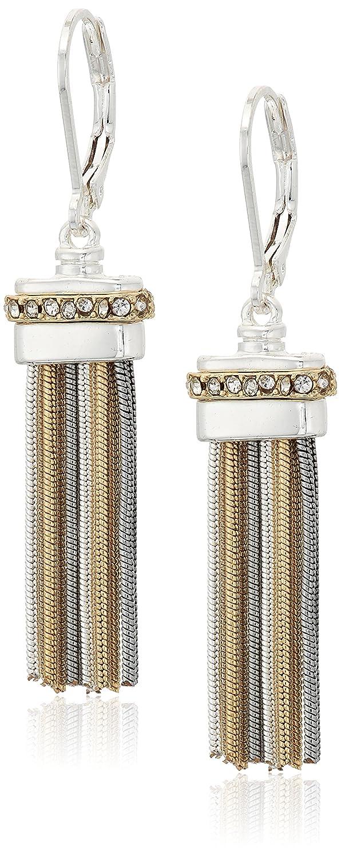nine west tri-tone and crystal tassel drop earrings 60477373-Z01