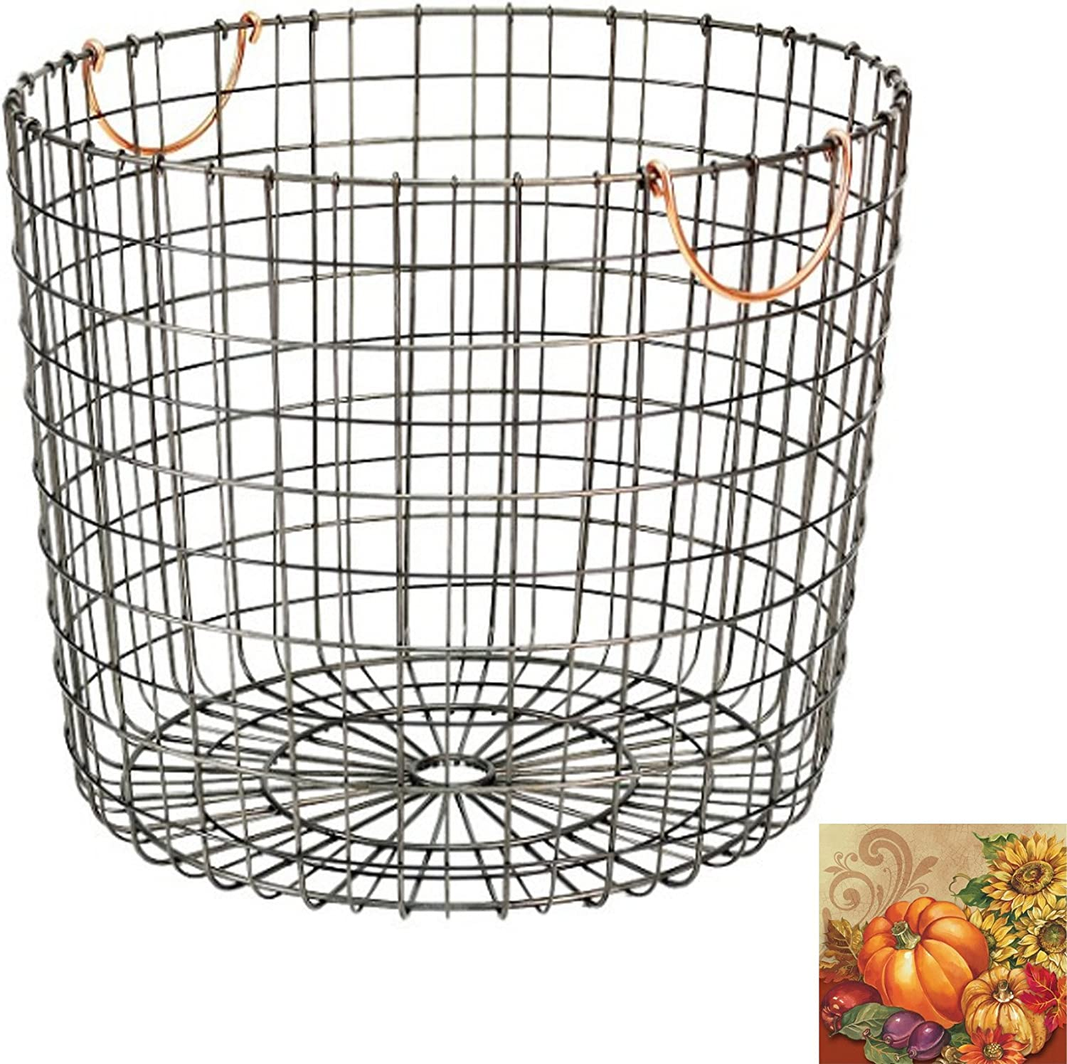 Antique Pewter Basket with Copper Handles - Extra Large Round