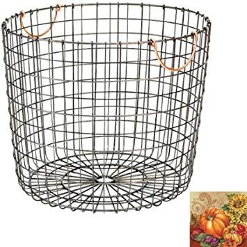 Extra Large Round Wire Decorative Storage Bin   Antique Pewter With Copper  Handle   Huge Basket