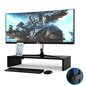 1home Wood Monitor Stand Arm Riser Desk Storage Organizer, Speaker TV Laptop Printer Stand with Cellphone Holder and Cable Management, 21.3 inch Black