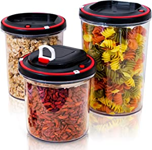 BIRTANWARE Food Storage Containers with Vacuum Pump | Airtight Lids | Pantry Organization | Cereal Container | Set of 3