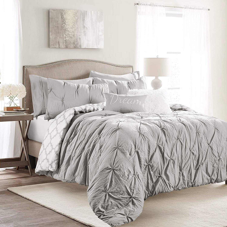 Lush Decor, Light Gray Ravello Pintuck Caroline Geo 5 Piece Comforter Set, Twin-XL