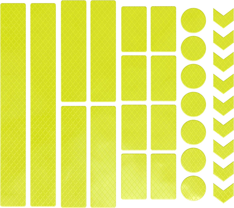Eazy Case 30 X Leuchtaufkleber Reflektierende Aufkleber Reflektor Band Sicherheit Im Dunkeln Wasserfest Selbstklebend Für Fahrrad Kinderwagen Schulranzen Rucksack Kleidung Neon Gelb Sport Freizeit