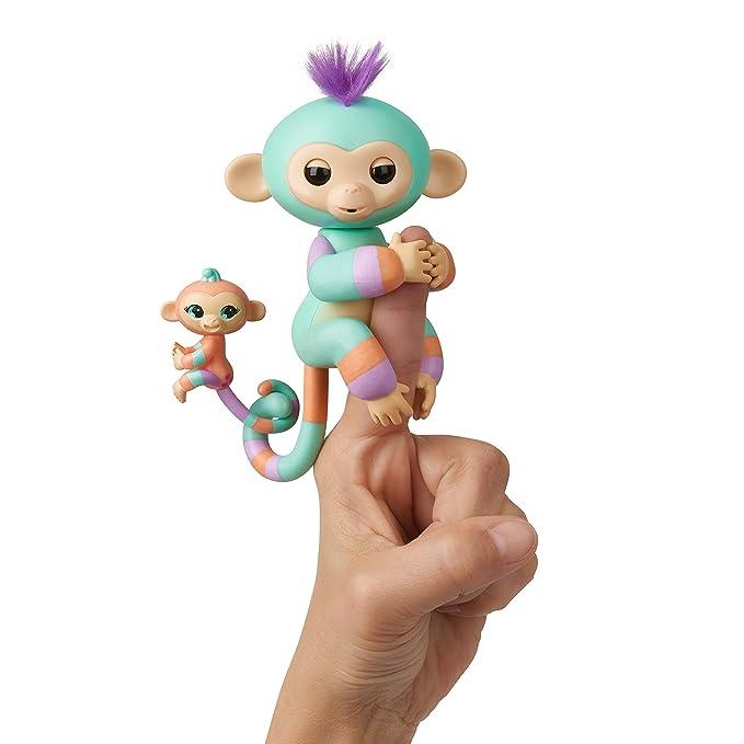 WowWee Fingerlings Baby Monkey & Mini BFFs - Danny & Gianna (Turquoise-Orange) 3544