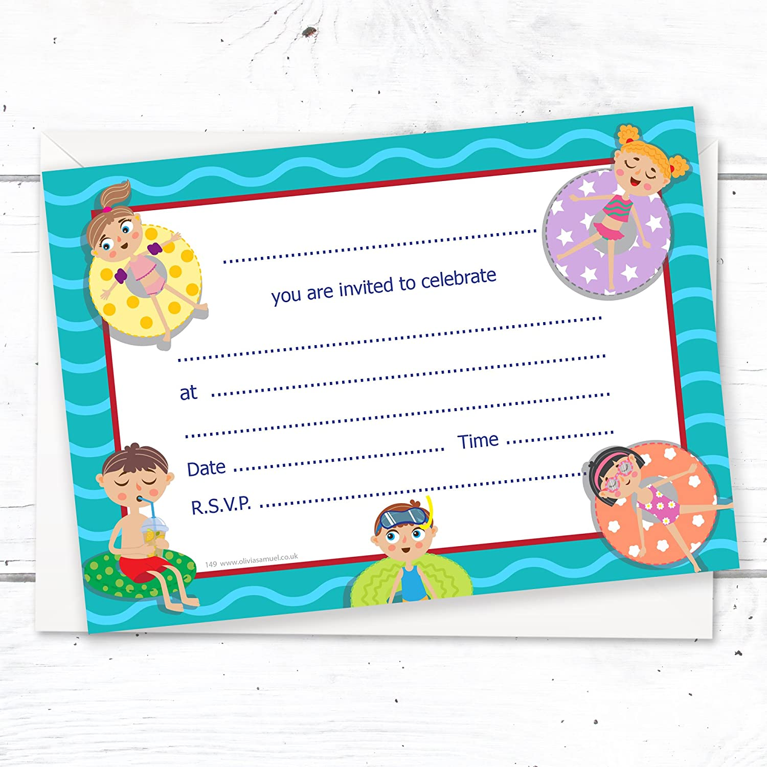 olivia samuel swimming pool party invitations ready to write with