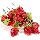 Dinopure Artificial Strawberries 30pcs Fake Strawberry Artificial Fruits Lifelike Red Strawberry For Decoration Arrangements Home House Kitchen Decor