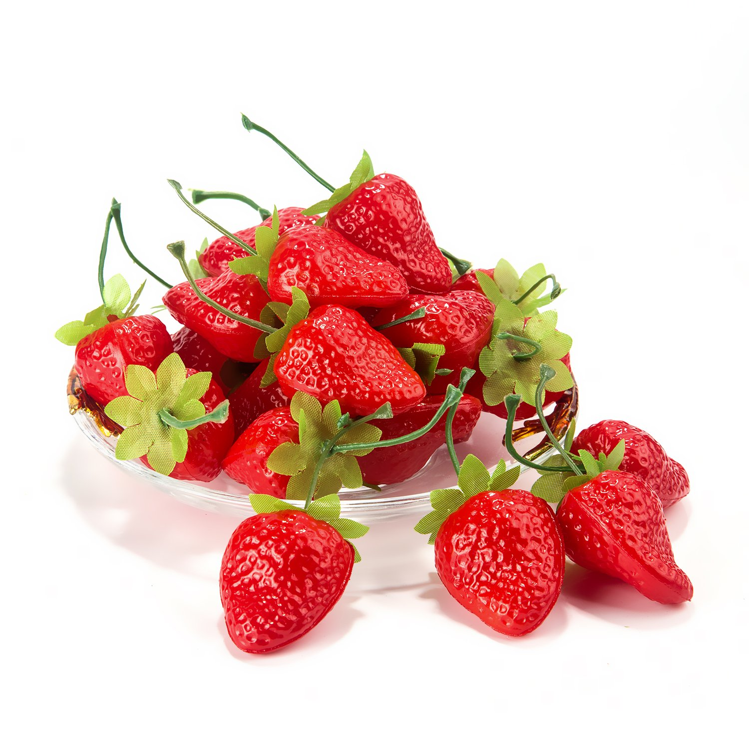 Dinopure 30pcs Artificial Lifelike Simulation Small Dard Red Strawberry Set Decoration Fake Fruit Home House Kitchen Decor