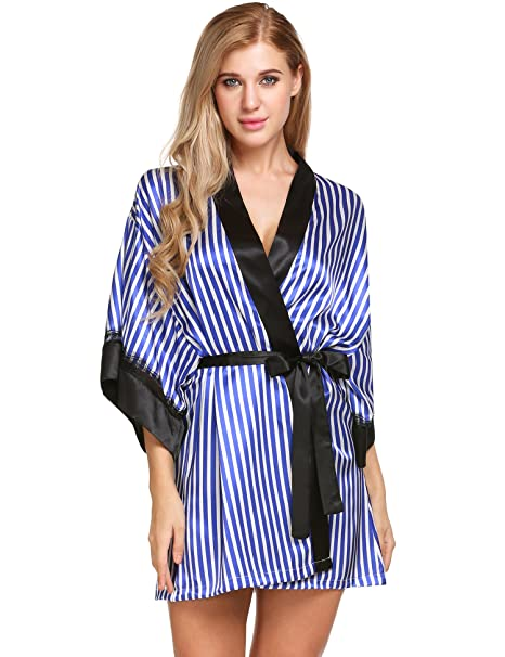 e1887af5c8 Image Unavailable. Image not available for. Color  Avidlove Womens Lace  Trim Kimono Robe Nightwear Nightgown Sleepwear ...
