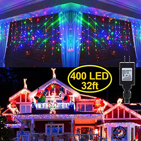 Warm White 8 Modes,LED String Light For Wedding Party//Christmas//Halloween//Party Backdrops . LED Curtain Lights,Curtain Christmas Lights