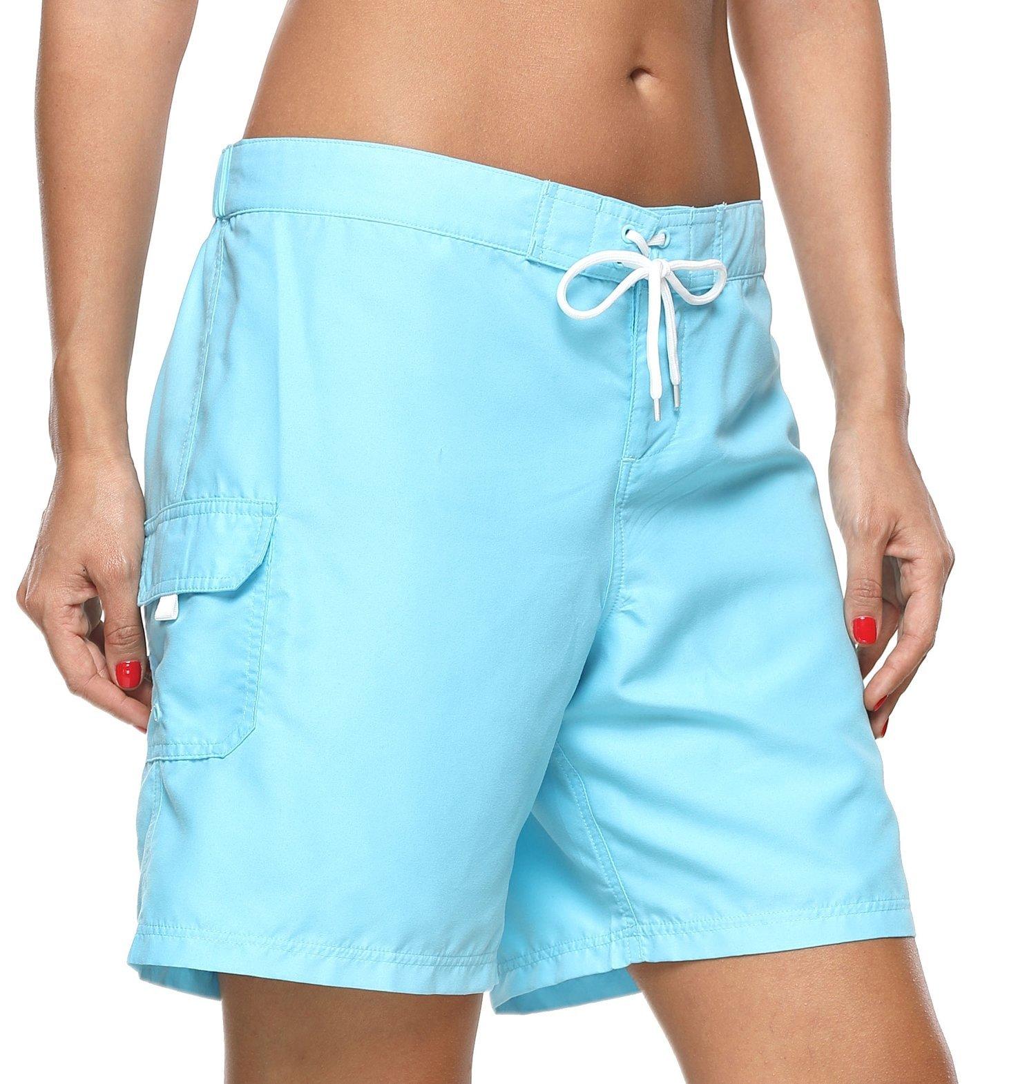 ATTRACO Women's Long Board Short Side Pocket Drawstring Swimwear Shorts Blue Large by ATTRACO (Image #3)