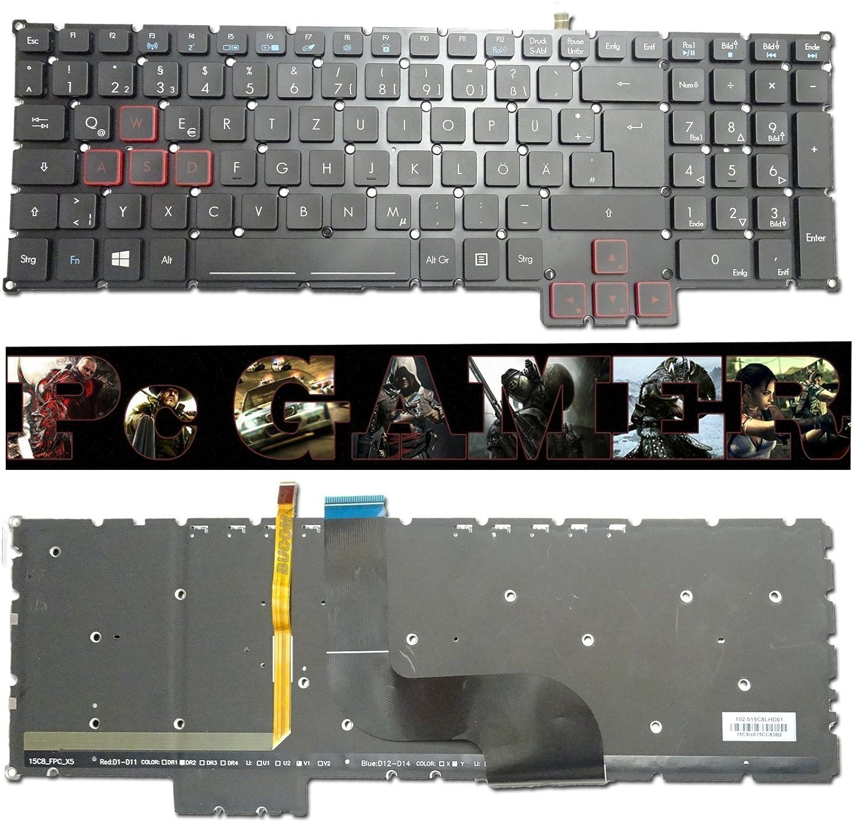Bucom - Teclado gamer para Acer Predator 15 17 QWERTZ ...