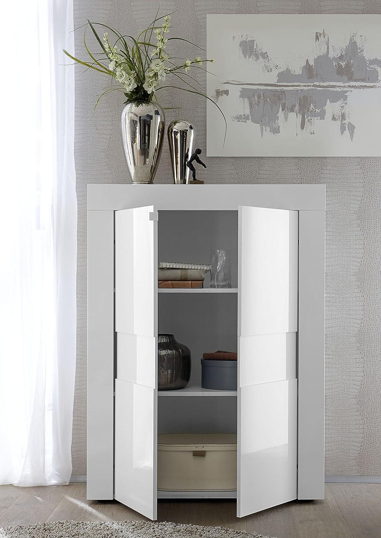 Arredocasagmb.it Mobile Contenitore 2 Ante Moderno Bianco Lucido Soggiorno Madia Buffet con sportelli Design ESO 04