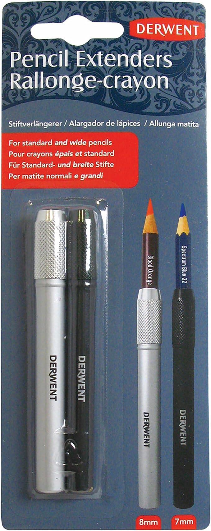 Derwent - Pack de 2 alargadores de lápices, color blanco y negro: Amazon.es: Oficina y papelería