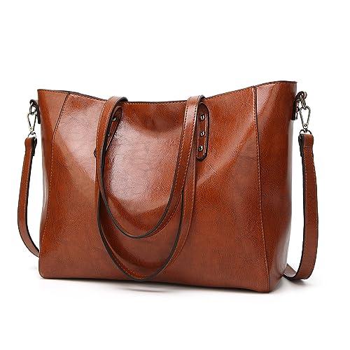 95f4de9f929 Leather Shoulder Bag,ZZSY Women Fashion Top Handle Satchel Handbag Tote Big  Large Capacity Bag