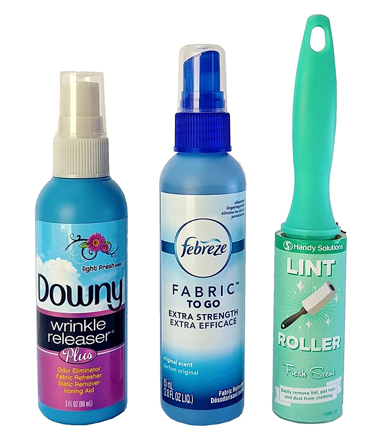 Downy Wrinkle Releaser Bundle with Febreze Fabric Refresher and Lint Remover- 3 Items