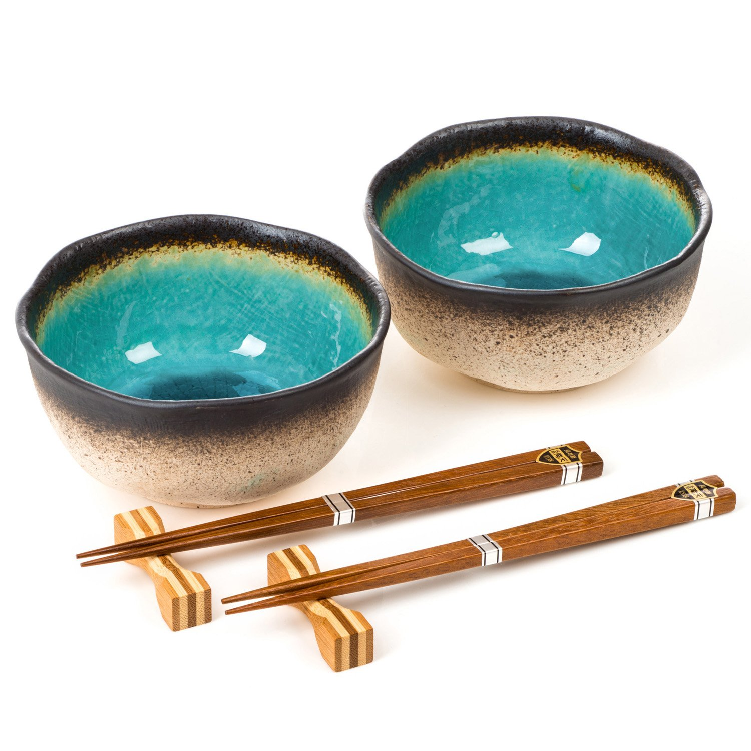 Blue Crackleglaze Ceramic Bowl Set with Chopsticks Zen Minded