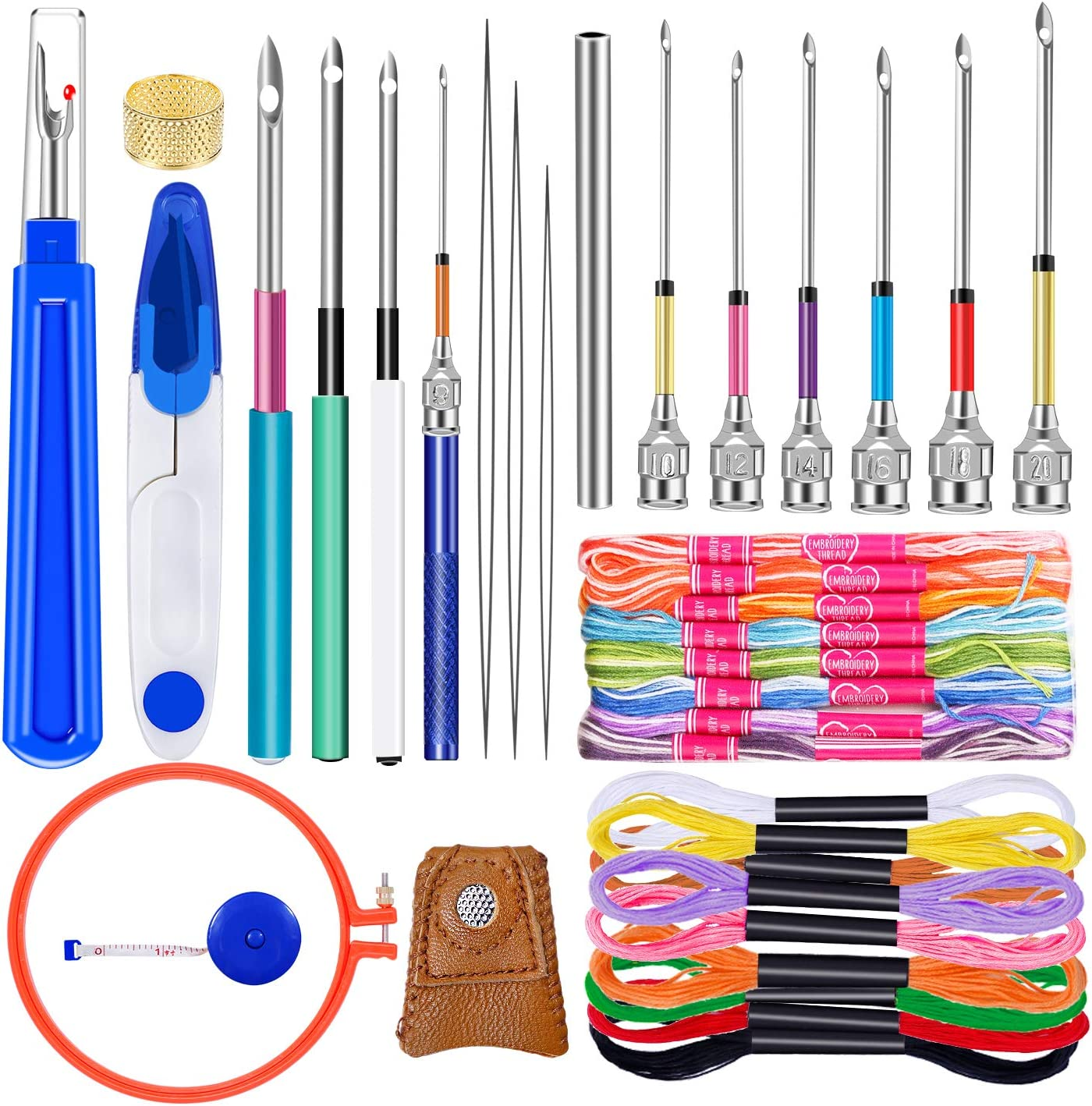 10 Pcs Embroidery Punch Needle Embroidery Beginner Kit with 20 Pcs Embroidery Floss Needle Threader and Embroidery Hoop for Embroidery Floss Poking Cross Stitching Jupean 41 Pcs Punch Needle Tool