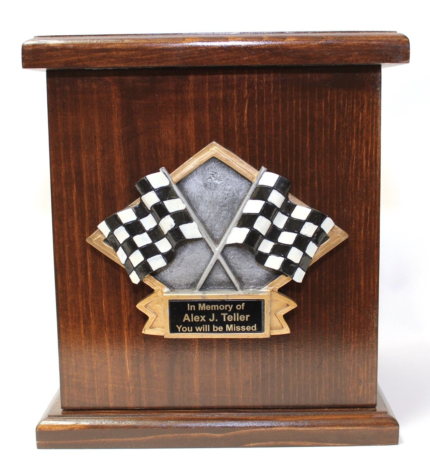 Car racing funeral cremation urn,adult memorial wooden urn w/personalization