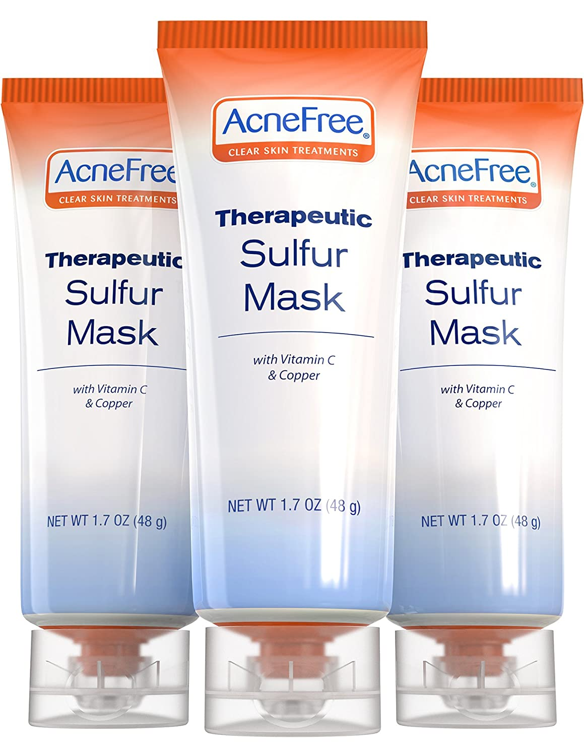 AcneFree Sulfur Mask 1.7 oz Three Pack Acne Treatment for Clearing Acne, Absorbing Excess Oil and Unclogging Pores with Vitamin C and Bentonite Clay