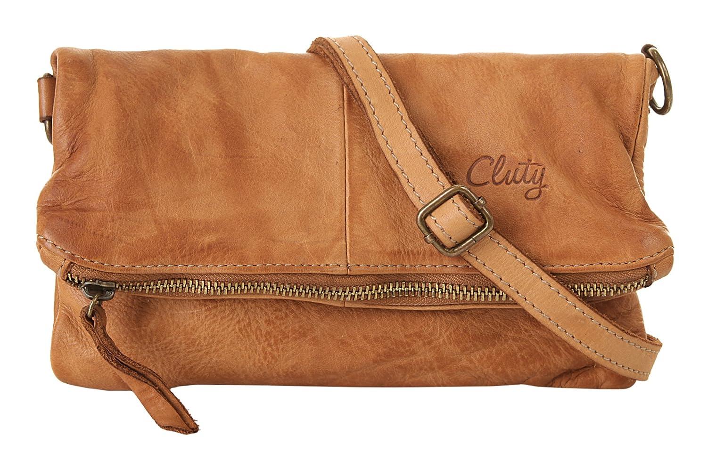 Cluty Abendtasche Echt Leder Damen Reißverschluss, Schultergurt, Schultergurt abnehmbar, Schultergurt verstellbar