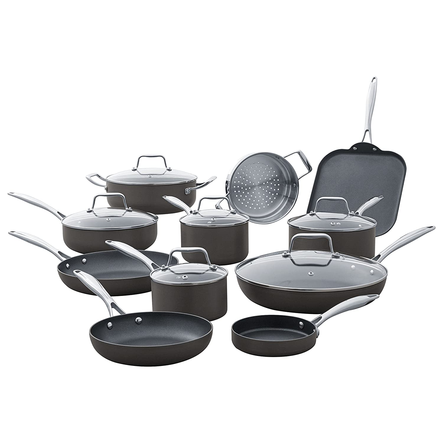 Stone & Beam Cookware Set, 17-Piece, Hard-Anodized Non-Stick Aluminum