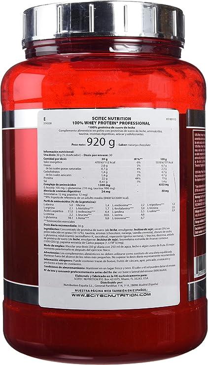 Scitec Nutrition Proteína De Suero Professional con Sabor de Naranja, Chocolate - 920 g