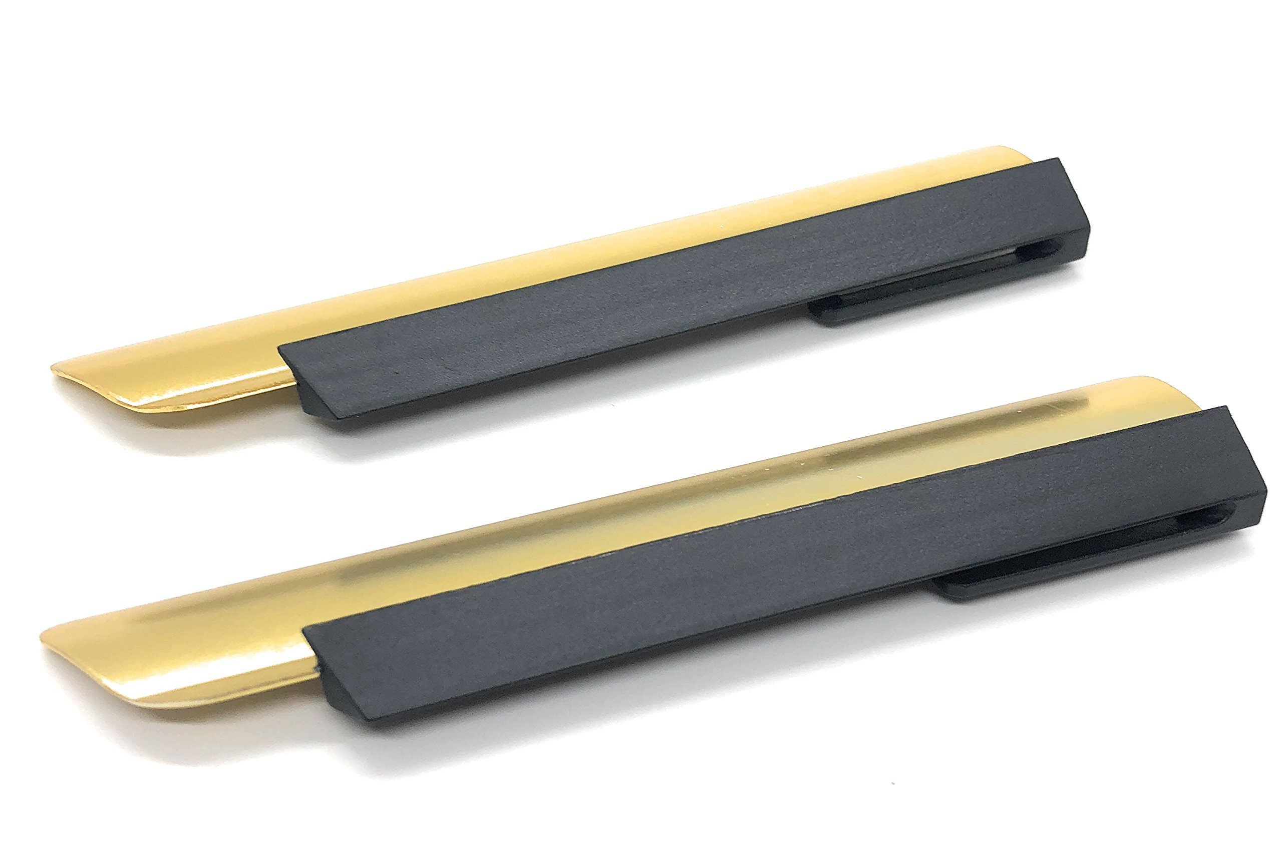 Waiter's Table Crumber/Scraper with Gold Aluminum Blade and Black Handle - 5.5 Inch - Set of 2