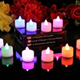 PK Green 12 Colour Changing Tea Lights - Battery Electric Flameless LED Mood Lighting Candles with Spare Batteries by
