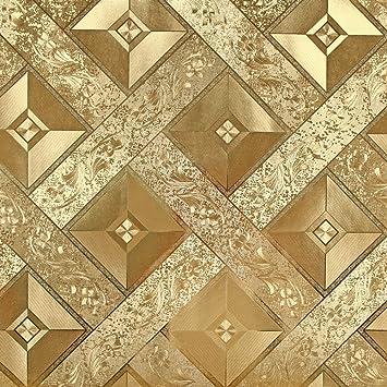 Hanmero Luxus Blattgold Mosaik 3D Karo abziehbare Rolle Tapete 0 ...