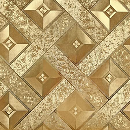 Hanmero Luxury Gold Foil Mosaic Square Lattice Background Flicker Wallpaper Leaf Modern Hotel Ceiling