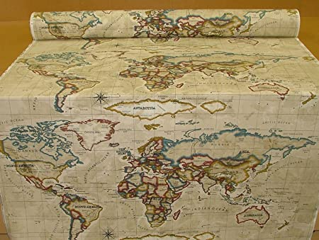 prestigious world map antique fabric by the metre