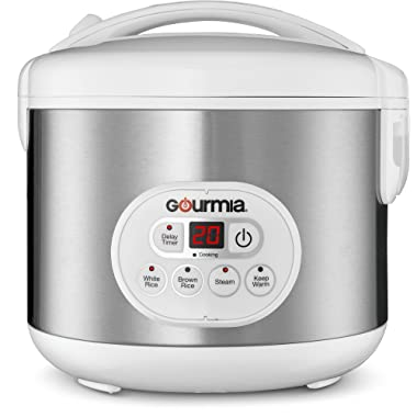 Gourmia GRC770 12 Cup (Cooked) Rice Cooker and Steamer For Grains and Hot Cereal - Steam Basket - Digital Display - Keep Warm - Delay Timer - 500W- Stainless Steel - Bonus Cookbook (12 Cup)