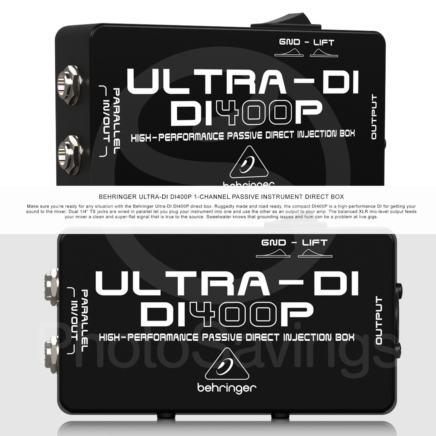 Behringer di400p ULTRA-DI pasivo Direct caja & accesorios Bundle w/XLR Cable, 2 x 1/4