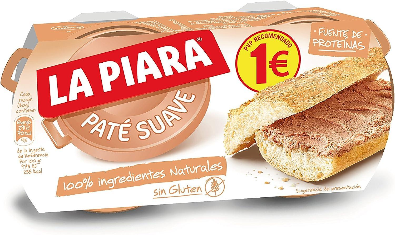 La Piara - Sólo Natural - Paté suave de hígado de cerdo - 2 x 75 g - [pack de 6]