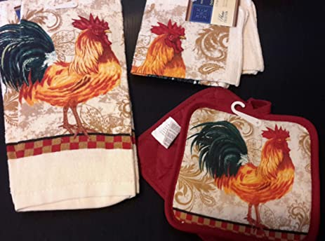 Charmant Country Checkered Rooster Kitchen Linen Set (5 Pieces)